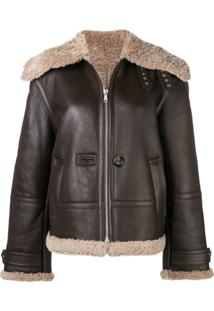 Helmut Lang Shearling Leather Jacket - Marrom