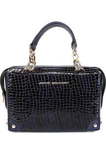 c2fae9a5a R$ 899,00. Zattini Bolsa De Grife Feminina Azul Marinho Verniz Couro Jorge  Bischoff Textura Croco ...