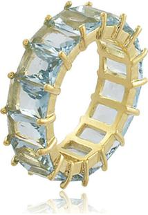 Anel Viva Jolie Aquamarine Fusion Riviera Retângulos Banho Em Ouro-13