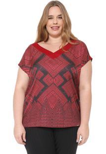 Blusa Cativa Plus Estampada Vermelha