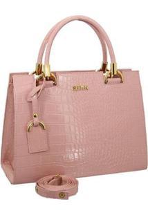 Bolsa Selten Handbag Textura Croco Zíper Alça Transversal Dia A Dia Feminina - Feminino-Rosa