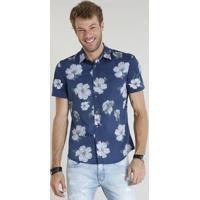 66443cae5 Camisa Masculina Comfort Estampada Floral Manga Curta Azul Marinho