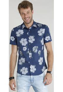 Camisa Masculina Comfort Estampada Floral Manga Curta Azul Marinho