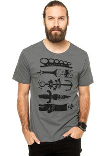 Camiseta Manga Curta Cavalera Soco Inglês Cinza
