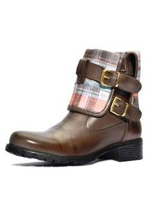 Bota Atron Shoes Com Cano Dobravel - 9105 - Café