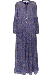 Figue Vestido Xiomara Longo De Chiffon - Azul