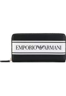 Emporio Armani Carteira Com Logo Contrastante - Preto