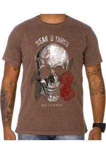 Camiseta Use Thuco Pink Skull Marrom
