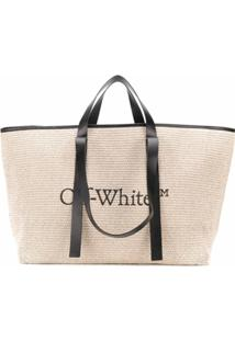 Off-White Bolsa Tote Com Estampa De Logo - Neutro