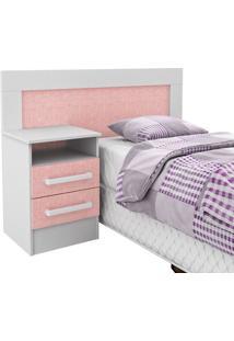 Cabeceira Infantil 0,78 M C/ Criado-Mudo 2 Gavetas Branco/Rosa 65D081 - Rodial