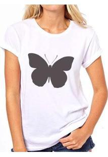 Camiseta Coolest Borboleta Feminina - Feminino-Branco