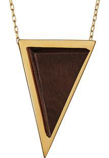 Pingente Wooden Design Triangular Grande Em Prata 925 - Madeira E Dourado