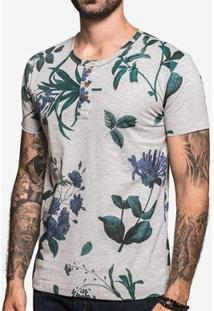 Camiseta Hermoso Compadre Henley Mescla Flower Mas - Masculino-Cinza