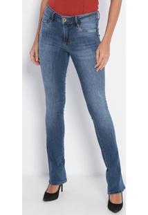 Jeans Boot Cut Low Com Puídos- Azul Escuro- Lança Pelança Perfume