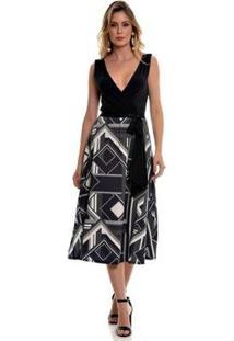 Vestido Bisô Midi Geométrico Feminino - Feminino-Preto