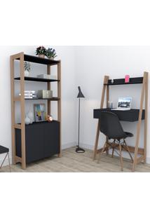 Conjunto Home Office Trend Bliv Completo Com Armário E Escrivaninha 1 Gaveta - Preto E Castanho