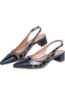 Scarpin Salto Grosso Love Shoes Social Bico Fino Baixo Captoe Onça - Tricae