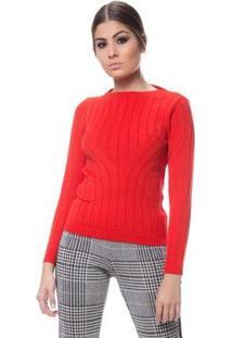 Blusa Logan Tricot Textura Modal Feminina - Feminino-Vermelho