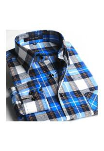 Camisa Xadrez Masculina Slim Fit Alabama - Cinza E Laranja