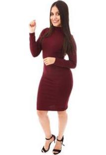 Vestido Moda Vicio Justo Manga Longa Gola Alta Feminino - Feminino-Vinho