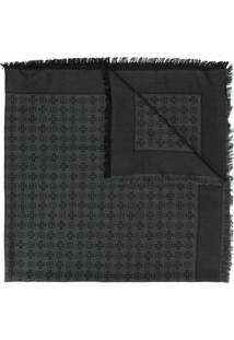 Tory Burch Cachecol De Jacquard Com Logo - Preto