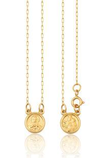 Escapulário De Ouro 18K Com Fecho Medalhas Redondas De N.S.Carmo E S.C.Jesus
