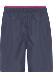 Bermuda Masculina Com Detalhe Em Faixa - Azul Marinho