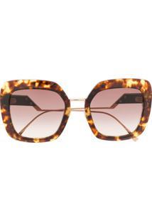 Fendi Eyewear Oversized Tortoiseshell Sunglasses - Marrom