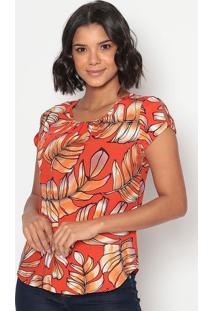 Blusa Floral Com Recorte Torcido- Vermelha Laranjavip Reserva