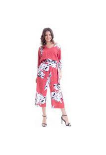 Macacao 101 Resort Wear Alfaiataria Viscose Estampada Floral Vermelho
