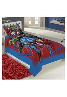 Jogo De Cama Solteiro Lepper Avengers 2 Peças Azul E Vermelho
