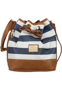 Bolsa Mevisto Saco Listrada Azul/Branca