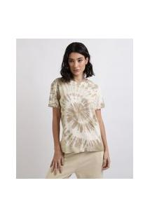"Blusa Feminina Kindness Is Magic"" Estampada Tie Dye Manga Curta Decote Redondo Bege"""