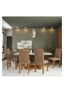 Conjunto De Mesa De Jantar Com 6 Cadeiras Estofadas Amélia Animalle Off White E Chocolate