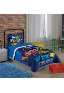 Edredom Solteiro Estampado Teen Titans Go 1,50 M X 2,00 M Com 1 Peça Lepper Azul