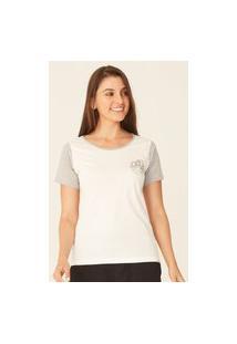 Camiseta Oneill Feminina Raglan Estampada Rainbow Waves Cinza Mescla