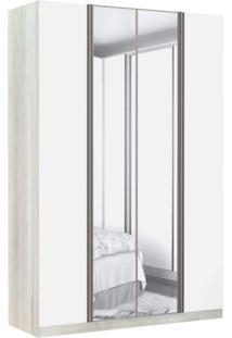 Guarda Roupa Modulado 2 Espelhos 4 Portas Emolduradas 3 Gavetas Nichos Colmeia 159Cm Prime Luciane Móveis Legno Crema/Branco Mat