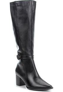 Bota Couro Shoestock Cano Longo Fivela Feminina - Feminino-Preto