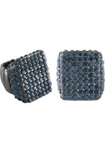 Anel Armazem Rr Bijoux Quadrado Cristal Azul