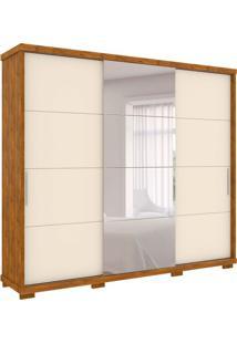 Guarda-Roupa Casal Com Espelho Barcelona 3 Pt 6 Gv Nature E Off White