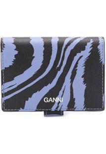Ganni Carteira Com Animal Print - Azul