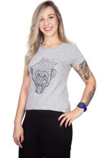 Camiseta 4 Ás Mesclada Manga Curta Macaco Prata - Kanui
