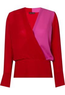 Blusa Le Lis Blanc Transpasse Donata Seda Vermelho Feminina (Paprica/Super Pink, 50)