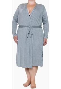 Robe Ml Viscolight Plus Size - Cinza Mescla - 1Xl