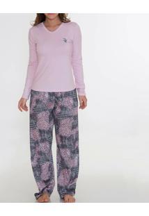 Pijama Recco Comprido De Viscose E Charmeuse 08149 - Feminino