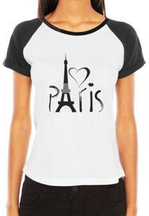 Camiseta Criativa Urbana Raglan Paris França Torre Eiffel Love - Feminino-Branco