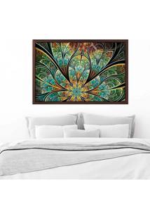 Quadro Love Decor Com Moldura Flor Vitral Verde Madeira Escura Mã©Dio - Multicolorido - Dafiti