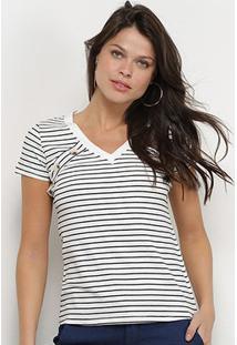 Camiseta Adooro! Listrada Botões Feminina - Feminino-Branco+Preto