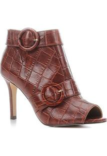 Sandal Boot Couro Shoestock Croco Salto Fino Feminina - Feminino-Tabaco