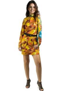 1278fdb743 ... Vestido Banna Hanna Visco - Feminino-Amarelo+Marrom